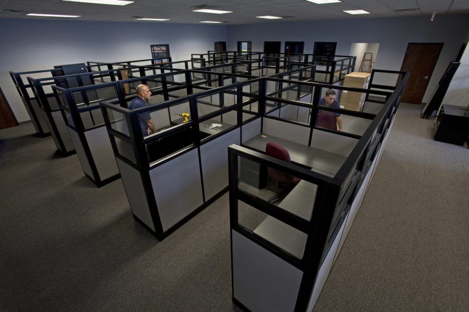 Modern looking cubicles in an office